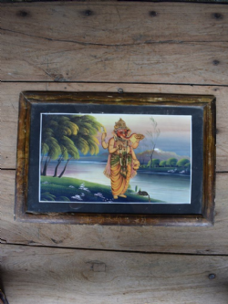 Vintage Print of Ganesha Eating Ladoos